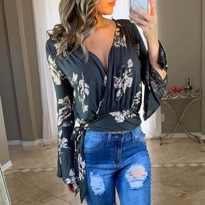Free People Charcoal Floral Bell Sleeve Wrap Top